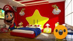 Wall mural (red for Simon yellow for marsh) Boys Bedroom Decor, Bedroom Themes, Bedroom Ideas, Chambre Nolan, Super Mario Room, Nintendo Room, Video Game Decor, Game Room Design, Gamer Room