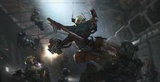Warhammer 40k Art, Warhammer Fantasy, Sci Fi Weapons, Space Marine, Sci Fi Art, Assassin, Cyberpunk, Cool Pictures, Scenery