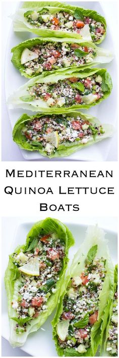 Quinoa with cucumbers, tomatoes, fresh herbs, and feta stuffed into crispy romaine leaf. Easy, healthy and meatless | littlebroken.com @littlebroken