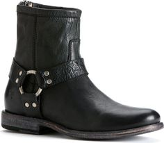Women's Frye Phillip Harness - Black Soft Vintage leather with FREE Shipping & Exchanges. This stylish ankle boot is a short and to the point version of Frye's American Classic Harness boot.