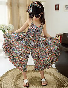Girl's+Cotton/Polyester+Fashion+Floral+Straped+Beach+Loose+Overall+&+Jumpsuit+–+USD+$+22.99