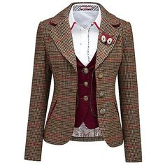 Funky Fox Jacket by Joe Browns | Look Again (€8.930) via Polyvore featuring outerwear, jackets, brown jacket, fox jackets and joe browns