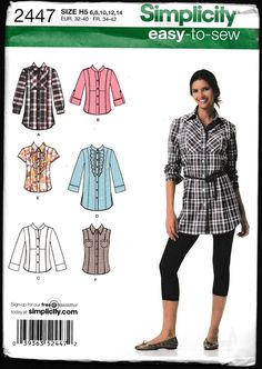 Simplicity 2447 Misses' Easy To Sew Shirt with Collar and Sleeve by OutoftheConex on Etsy https://www.etsy.com/listing/468016673/simplicity-2447-misses-easy-to-sew-shirt