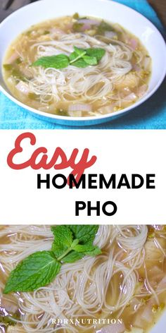My favorite comfort food is a giant bowl of easy homemade pho. Honestly, I could eat this soup in 100 degree weather, it's that good. Pho Soup Recipe Chicken, Pho Soup Recipe Easy, Easy Soup Recipes, Vegetarian Recipes, Chicken Recipes, Cooking Recipes, Healthy Recipes, Easy Shrimp Pho Recipe, Recipe For Pho