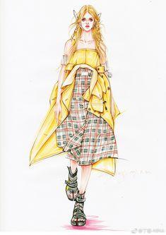 微博 Fashion Drawing Tutorial, Fashion Figure Drawing, Fashion Drawing Dresses, Fashion Design Sketchbook, Fashion Design Drawings, Fashion Sketches, Fashion Illustration Face, Illustration Girl, Dress Design Drawing