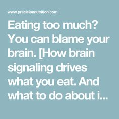 Eating too much? You can blame your brain. [How brain signaling drives what you eat. Precision Nutrition, Ate Too Much, Weight Control, What You Eat, Willpower, Blame, Canning, Health, Health Care