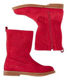 Hanna Andersson Apple Red Karla Short Suede Boot | zulily