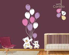 Teddy mit Ballons Wall Decal Wandaufkleber große von WallConsilia