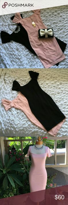 Bundle LuLu's Pink and Black Dresses Bundle two LuLu's midi, bodycon dress in pink and black! Both the dresses are brand new, without tags. Excellent condition too because they are damage, stain and smoke free! The outfits shown above are perfect for date night, girls night, our a day at the office! Lulu's Dresses Midi