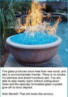 2. You can use fire glass instead of wood for your backyard fire pit. by AislingH