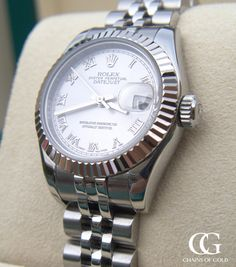 Fabulous ladies Rolex 179174 white gold and stainless steel jubilee bracelet and fluted bezel