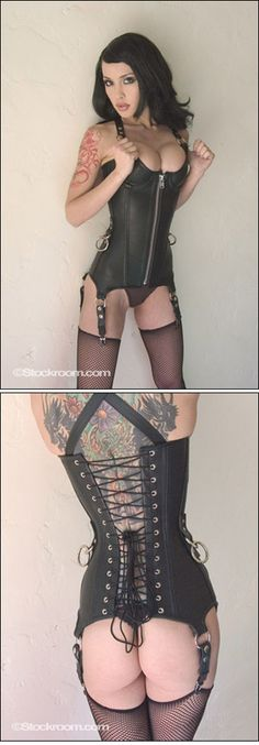 The Ophelia Corset features O-rings at the hips, shoulder straps and waist, making this a great corset to play in. (Model: Masuimi Max)