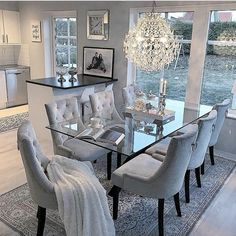 53 Elegant Dining Room Design For Dream Home - Pin Store Dining Room Table Decor, Elegant Dining Room, Luxury Dining Room, Dining Room Design, Living Room Decor, Bedroom Decor, Dining Room Sets, Grey Dining Room Furniture, Table And Chairs
