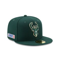 d6903ecc3ed610 MILWAUKEE BUCKS PLAYOFF SIDE PATCH 59FIFTY FITTED Bucks Logo, New Era Hats,  Milwaukee Bucks