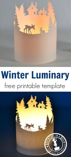 A winter paper luminary with a free printable template. A quick and simple craft for a Christmas break.
