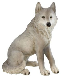 Majestic Mythical Sitting Gray Alpha Wolf Statue Figurine Timberwolves Decor