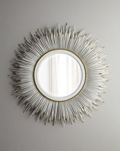 Janice Minor White Porcupine Quill Mirror-Home Decor Ideas-Concept Candie Interiors-----Pinned byWhite Porcupine Quill Mirror by Janice Minor at Horchow. I can do this (gotta figure out how to create the curve in the quils or just go with straight qu Mirror With Shelf, Round Wall Mirror, Beveled Mirror, Mirror Mirror, Mirror Ideas, Glam Mirror, Mirror Inspiration, Mirror Collage, Mirror Bedroom