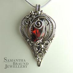 Shipwrecked Valentine Amulet - Garnet Cubic Zirconia gemstone and Sterling Silver by Samantha Braund