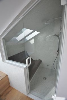Steam room, Dampfbad in Dachschräge Source by Sloped Ceiling Bathroom, Small Attic Bathroom, Loft Bathroom, Upstairs Bathrooms, Diy Bathroom Decor, Bathroom Interior, Rustic Home Design, Home Room Design, Interior Design Living Room