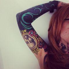 New School Bold Frame Man and Elbow Blackwork tattoo