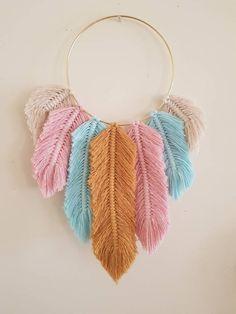 Macrame Feathers Dreamcatcher - Mustard, Seafoam Blue, Dusty Pink & Natural