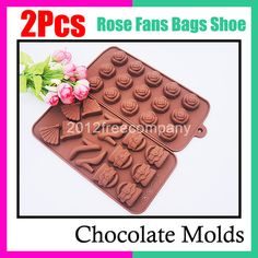 Rose Flower Bag Fans Shoes Chocolate Candy Sugarcraft Ice Mold Cutter Bakeware | eBay