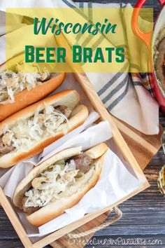 Wisconsin Beer Brats. Simmered brats in beer with thinly sliced onions and finish them on the grill. No fancy seasoning mixes needed. The brats can be returned to the beer and onion pot to keep warm, or they can be served right away. The ultimate game day recipe! #Brats #gameday #grill #superbowl Brats Recipes, Veggie Recipes, Dinner Recipes, Dinner Ideas, Easy Family Meals, Easy Meals, Grilled Squash, Beer Brats, Easy Restaurant