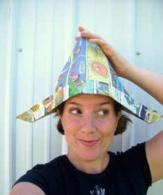 Newspaper Hats...lord! Daddy made these for us when we were little! Time to show Carlie and Coleman! :)