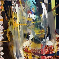 Albert Oehlen* <i>Untitled</i>* 1992 Oil on canvas and african fabric 60 x 60 inches x cm) abstract art ideas Abstract Art Images, Abstract Painters, Famous Art, Contemporary Paintings, Abstract Expressionism, American Art, Collage, Modern Art, Original Art