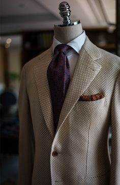 bntailor: Vintage fabric's jacket by B&TAILOR B&TAILOR wool tie B&TAILOR wool pocket square