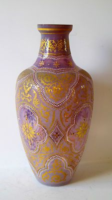 Made in 19 Century Glass Vase Austrian or French Decorated with Enamel and Gold | eBay