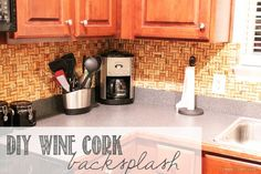 DIY Wine Cork Backsplash via createcraftlove.com #DIY #winecork #kitchen
