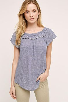 Linen Off-The-Shoulder Tee by Bordeaux $68.00. Can be worn off the shoulders or up. Super cute.