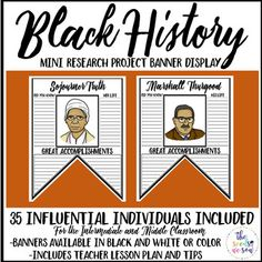 Black History Month in the U.S. is the month of February. Don't let it go by without recognizing some influential leaders of black history. In this No-Prep Black History Month Mini Research Project Banner Display, you'll receive 80 reproducible pages:Black History Month: 35 banners representing influential people in B&WBlack History Month: 35 banners representing influential people in colorTeacher Lesson Plan and Tips (Includes web site link where students can safely research all 35 influ...
