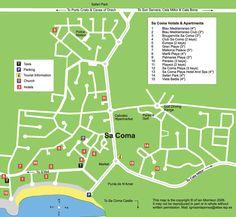 map of sa coma, mallorca (majorca)