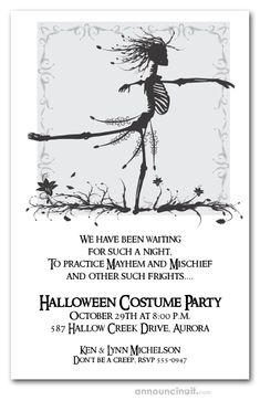 A skeleton waltzes among the fallen leaves and flowers, perfect for Halloween birthday invitations, Halloween costume party invitations, adult Halloween party invitations and more. Actual Size: x Halloween Dance, Fairy Halloween Costumes, Adult Halloween Party, Theme Halloween, Halloween Quotes, Holidays Halloween, Scary Halloween, Halloween Stuff, Halloween Labels