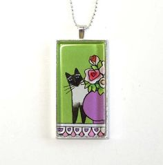 Siamese Cat Seal Point Pendant in Green... by SusanFayePetProjects, $20.00 #Siamese #Cat #Jewelry
