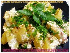 ΠΑΤΑΤΕΣ ΒΡΑΣΤΕΣ ΜΕ ΜΥΖΗΘΡΑ ΚΑΙ ΓΙΑΟΥΡΤΙ!! Potato Salad, Greek, Veggies, Meat, Chicken, Ethnic Recipes, Food, Traditional, Beef