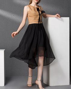 #AdoreWe #VIPme Swing Dresses - YI PIN WAN Camel Linen Asymmetrical Hem Midi Dress - AdoreWe.com