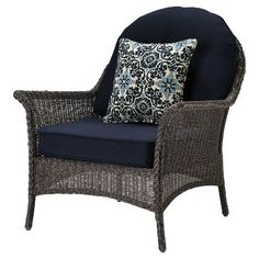 San Marino 4pc All-Weather Wicker Patio Conversation Set w/ Fire Pit - Navy Blue - Hanover