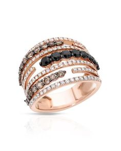 Bidz.com Listing #254046257 : ESME Brand New Ring With 2.42ctw Genuine Clean Diamonds 18K Rose Gold. Total item weight 8.8g - Certificate Available.