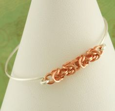 Silver and Copper Bangle  Non Tarnish Petite by favmoongirl, $20.00