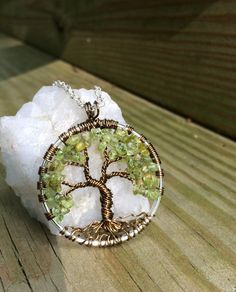 Tree Of Life Necklace Green Peridot Gemstone Pendant Dark Brown Trunk On Silver Chain Wire Wrapped  Jewelry August Birthstone