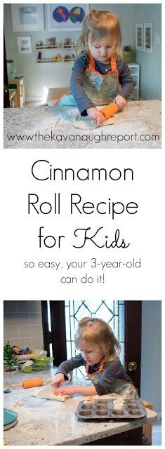 Cinnamon roll recipe for children - so easy that your can bake them. We love these delicious and easy cinnamon rolls--perfect for the independent young chef in your life! Easy Baking For Kids, Baking With Toddlers, Recipes Kids Can Make, Baking Recipes For Kids, Old Recipes, Recipes For Children, Recipies, Light Recipes, Baking Classes