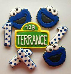 Cookie Monster Birthday Cookies by SugarySweetCookies Baby 1st Birthday, Birthday Cookies, 1st Boy Birthday, 1st Birthday Parties, Birthday Ideas, Monster 1st Birthdays, First Birthdays, Cookie Monster Party, Cookie Images