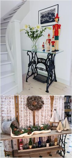 Hall table from old singer sewing machine base