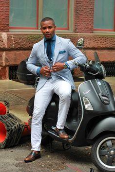 Seersucker blazer and vest + white pants + loafers