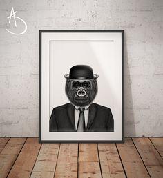 GORILLA IN SUIT Art Print, Gorilla Printables, Printable Art, Dapper Gorilla, Animals in suits, Black and White Art,  Gorilla in Suit Prints by AmberstoneDesign on Etsy Black And White Printer, Nursery Letters, Photo Store, Typography Art, Minimalist Art, White Art, As You Like, Printable Wall Art, I Shop