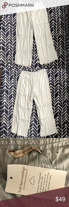 """Pale blue soft surrounding palazzo pants Woman's size medium very pale blue crinkle palazzo pants by soft surroundings new with tag.  The stretchy waist measures 16"""" the rise is 12 1/4"""" and the inseam is 29"""". soft surroundings Pants Wide Leg"""