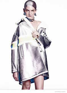 Futuristic liquid silver looks worn by Carly Moore for FASHION magazine shot by Malina Corpadean